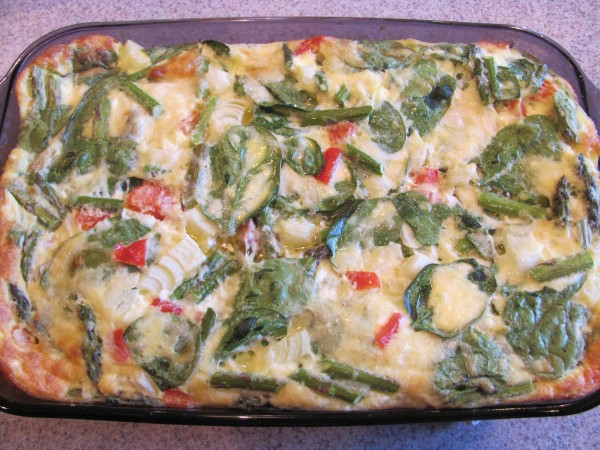 Spring veggie breakfast casserole - great for potlucks!