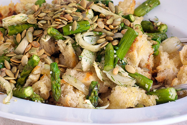 Grilled Chicken Bread Salad with Asparagus and Fennel