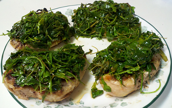 Tasting spring with grilled chicken with lemon-garlic arugula