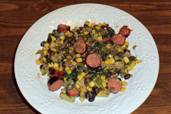 Okra Hash with Spicy Sausage