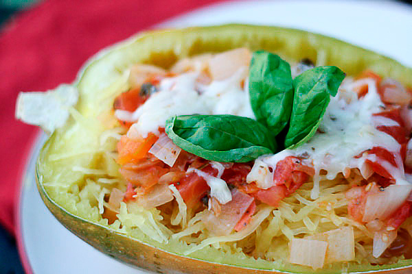 Spaghetti Squash with Stewed Tomatoes