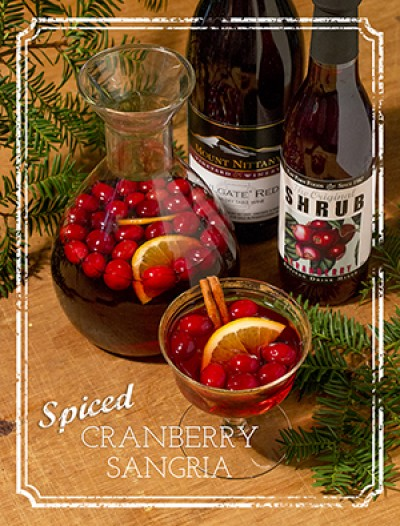 Spiced cranberry sangria combines local shrub, wine