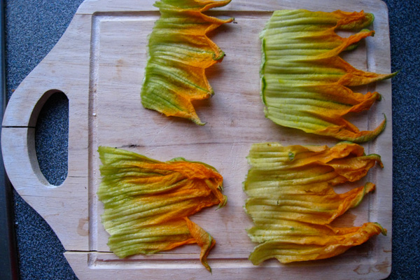 Too Much Zucchini? Try Ricotta Stuffed Squash Blossoms