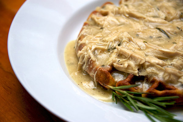 Turkey with Marsala Gravy over Rosemary Belgian Waffles